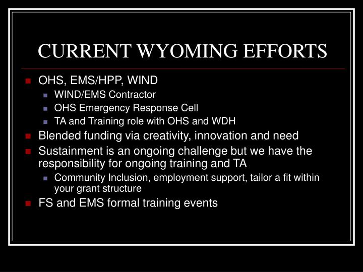 CURRENT WYOMING EFFORTS