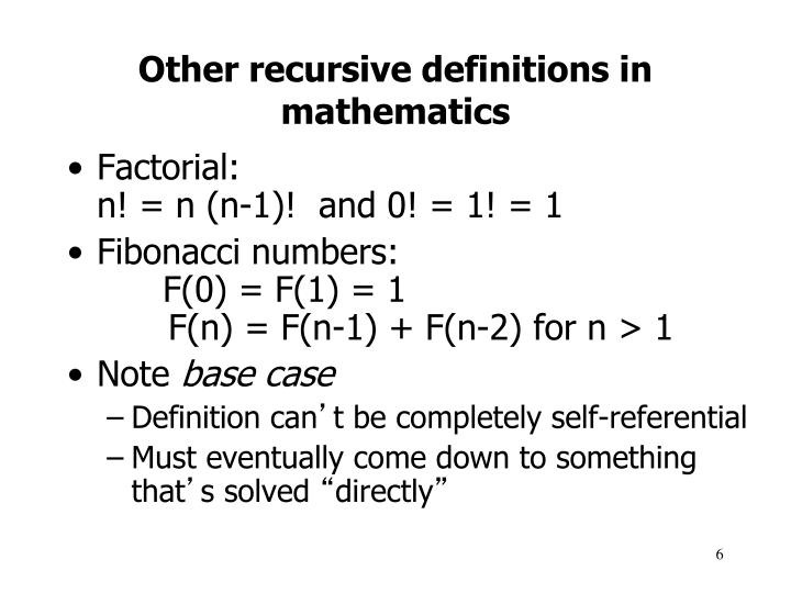Other recursive definitions in mathematics