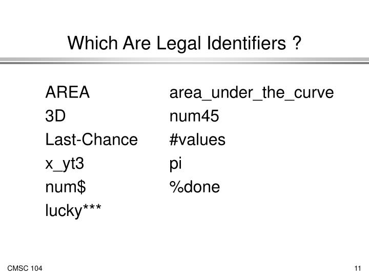 Which Are Legal Identifiers ?