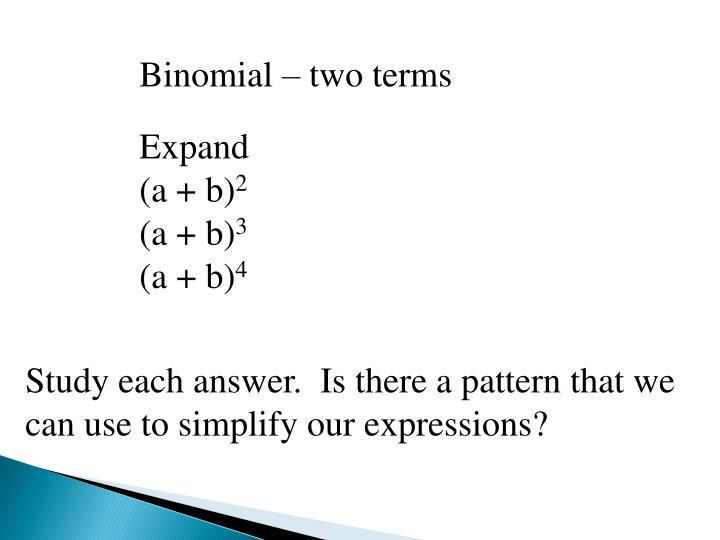 Binomial – two terms