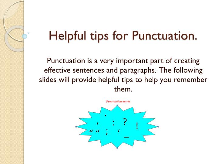 helpful tips for punctuation n.