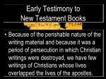 early testimony to new testament books