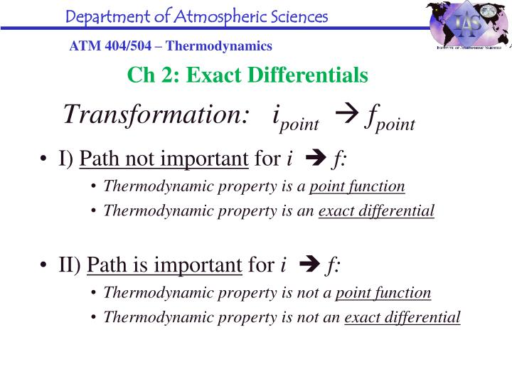 Ch 2: Exact Differentials
