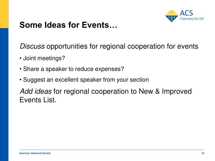 Some Ideas for Events…