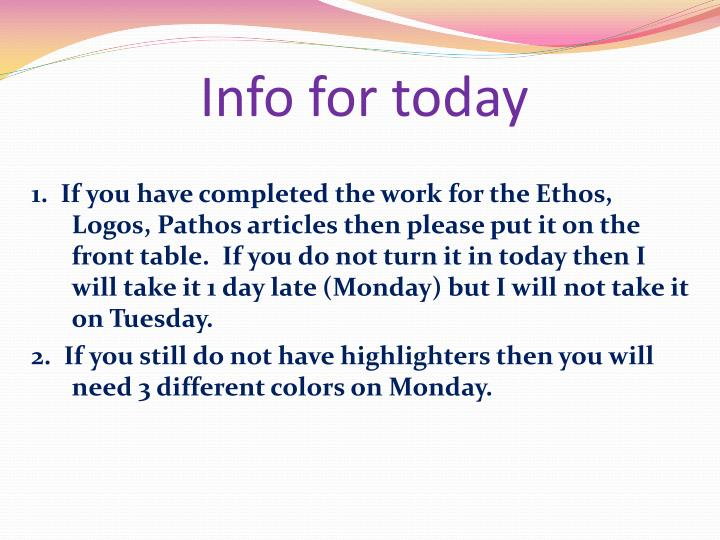 info for today n.