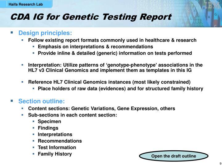 CDA IG for Genetic Testing Report