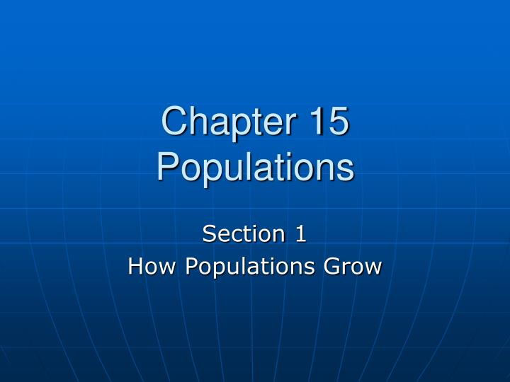 Chapter 15 populations