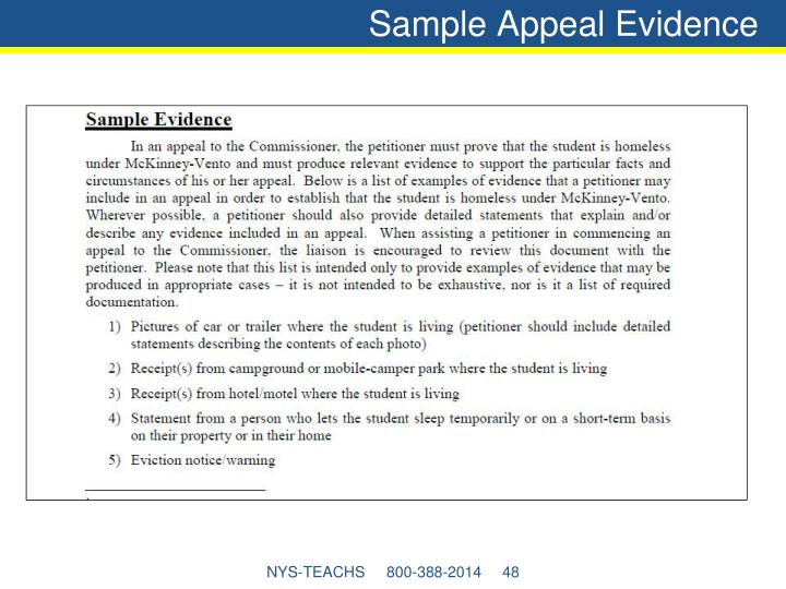 Sample Appeal Evidence