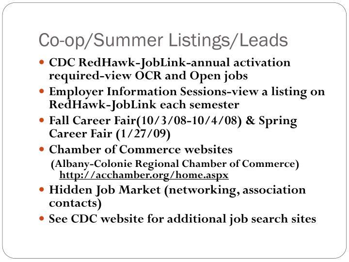 Co-op/Summer Listings/Leads