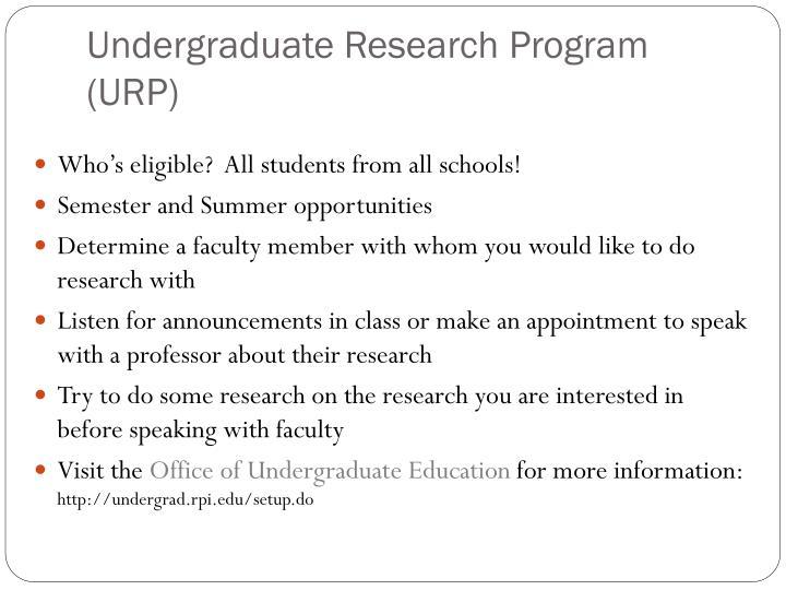 Undergraduate Research Program (URP)