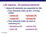 life requires 25 chemical elements
