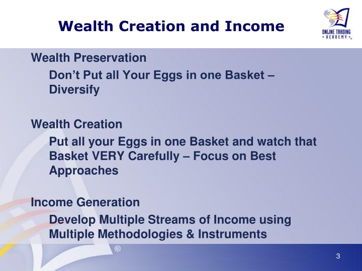 Wealth creation and income