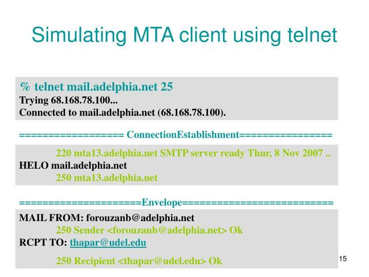 Simulating MTA client using telnet