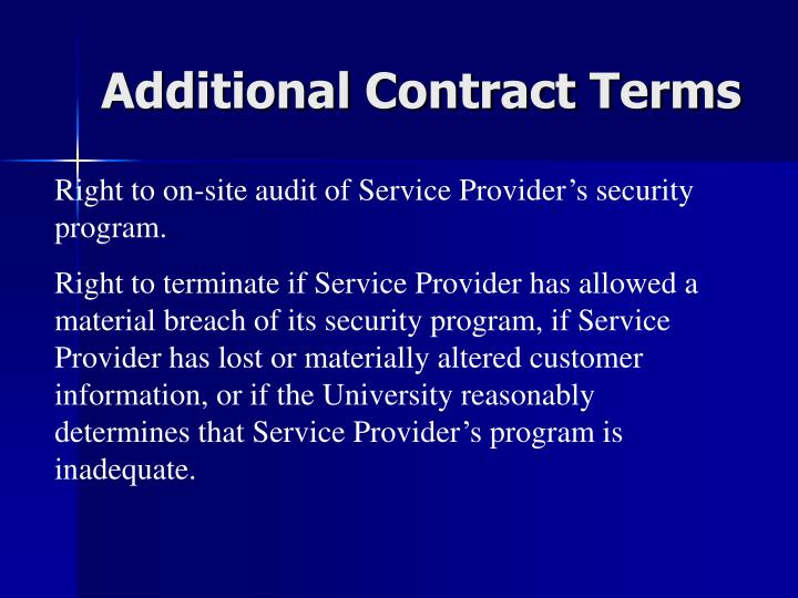 Additional Contract Terms