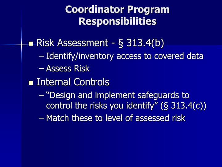 Coordinator Program Responsibilities