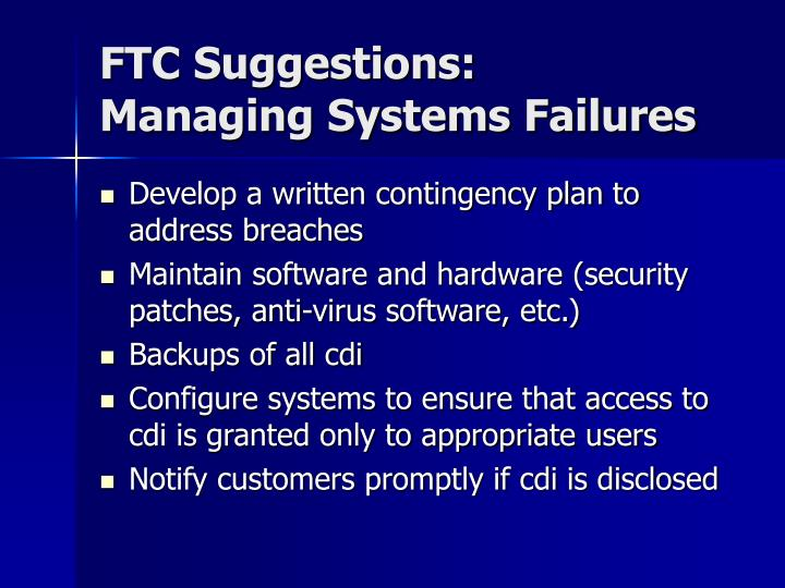 FTC Suggestions: