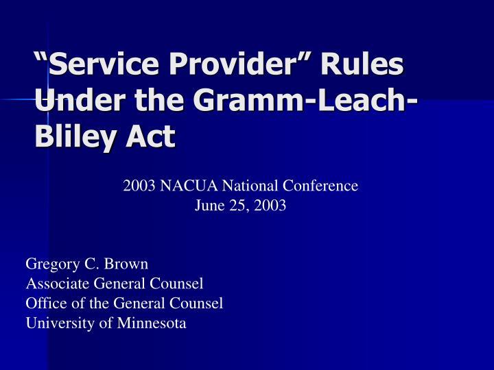 """Service Provider"" Rules"