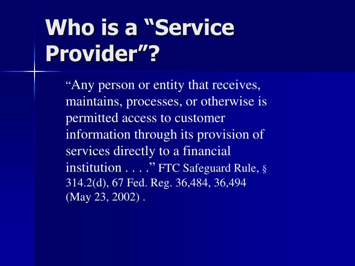 """Who is a """"Service Provider""""?"""