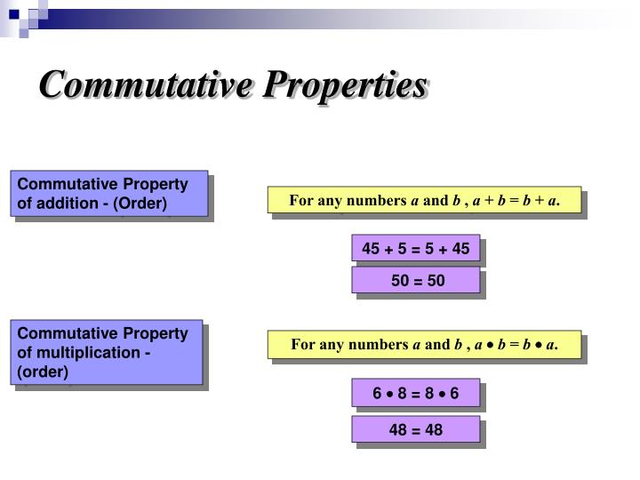 commutative properties In abstract algebra, an abelian group, also called a commutative group, is a group in which the result of applying the group operation to two group elements does not.
