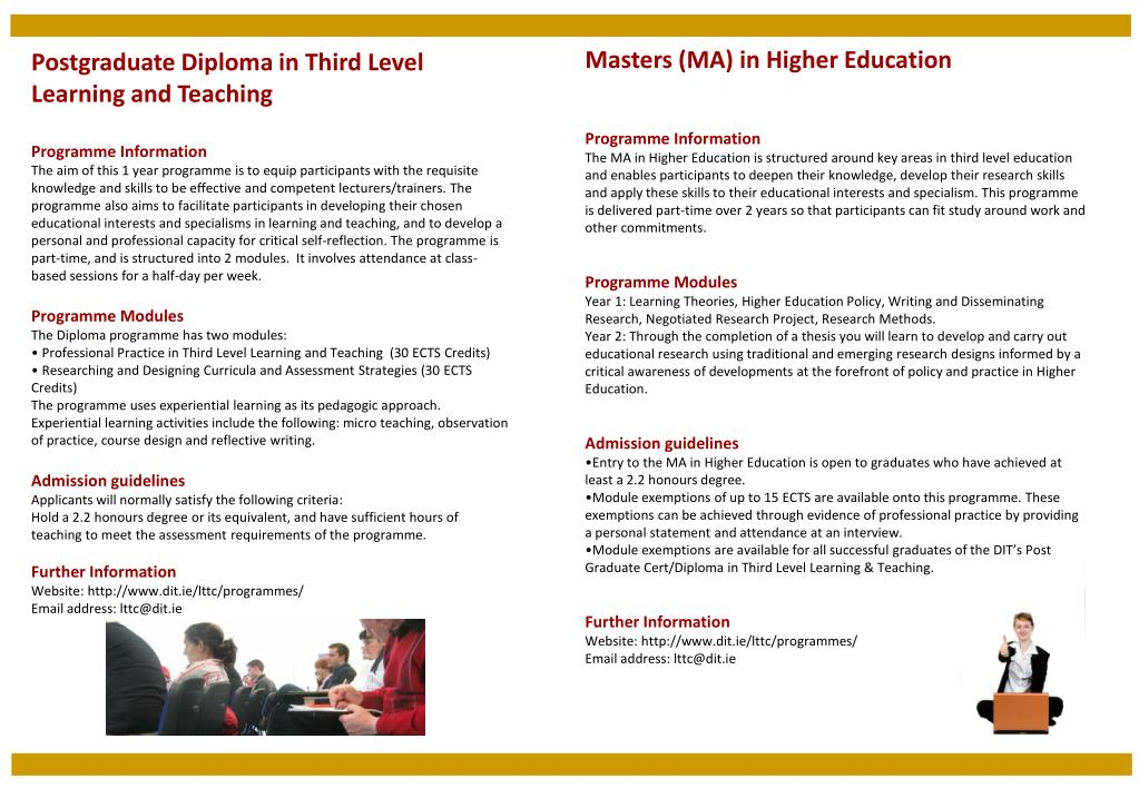 Ppt Masters Ma In Higher Education Programme Information Powerpoint Presentation Id 1706936