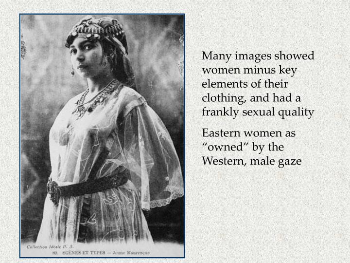 Many images showed women minus key elements of their clothing, and had a frankly sexual quality