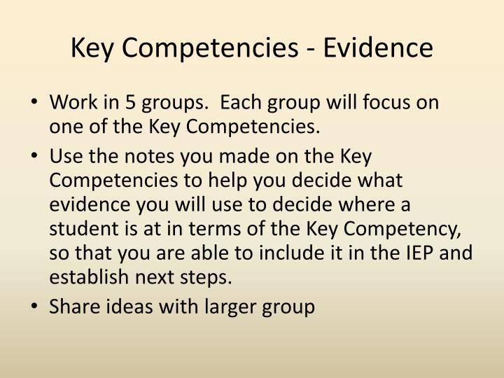 Key Competencies - Evidence