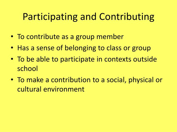 Participating and Contributing