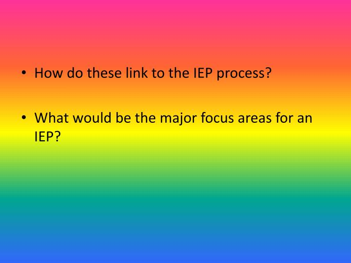 How do these link to the IEP process?