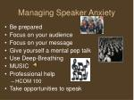 managing speaker anxiety