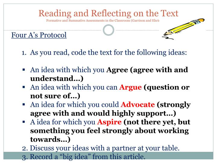 Reading and Reflecting on the Text