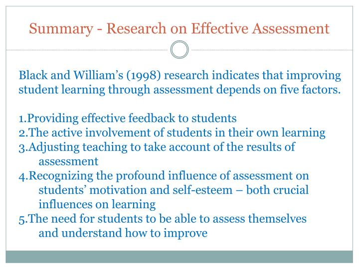 Summary - Research on Effective Assessment