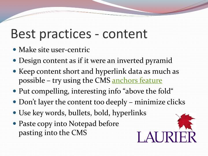 Best practices - content