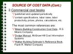 source of cost data cont