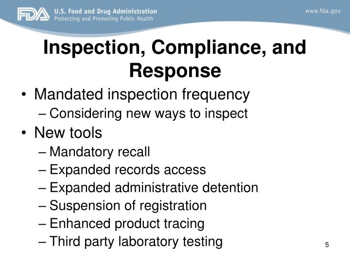 Inspection, Compliance, and Response