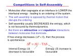 competitions in self assembly