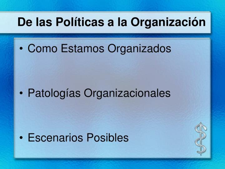 De las Políticas a la Organización