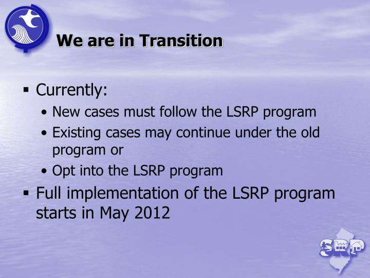 We are in Transition