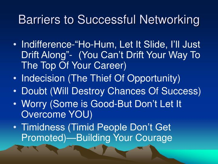 Barriers to Successful Networking