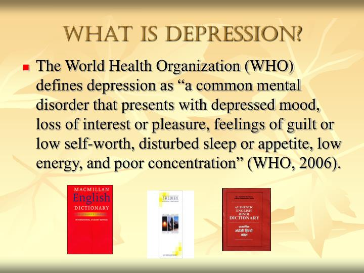exploring the biological perspective on depression Depression is a chronic mental disorder that affects all areas of an individual's life it is characterized by extreme despair, feelings of worthlessness, persistent fatigue and/or thoughts of suicide.
