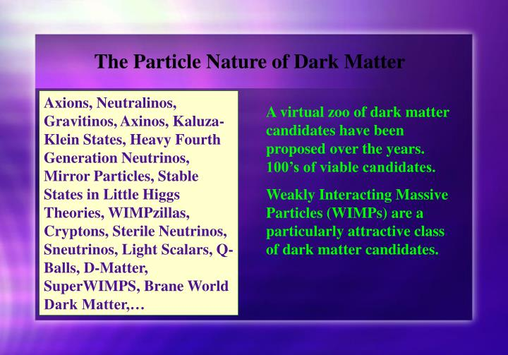 The Particle Nature of Dark Matter