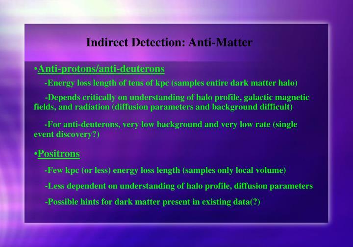 Indirect Detection: Anti-Matter