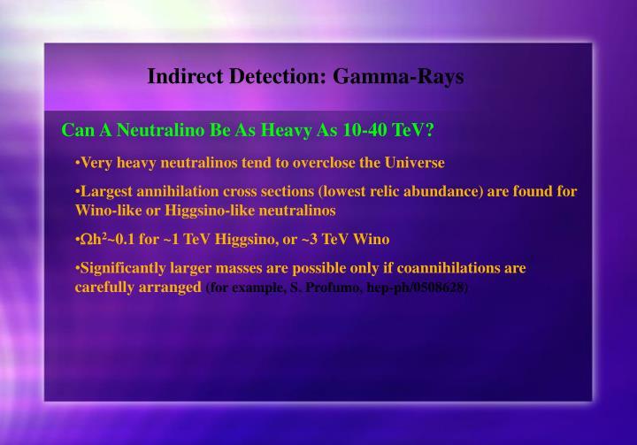 Indirect Detection: Gamma-Rays