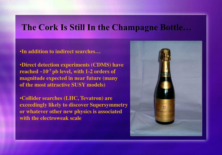 The Cork Is Still In the Champagne Bottle…