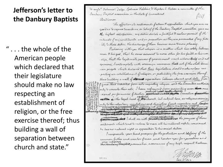 Jefferson's letter to the Danbury Baptists