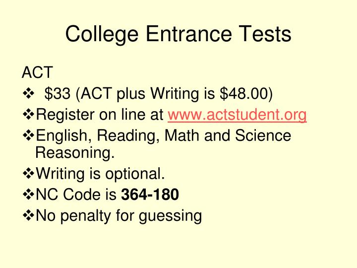 College entrance tests