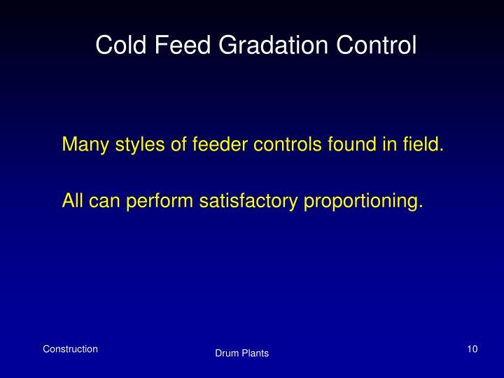 Cold Feed Gradation Control
