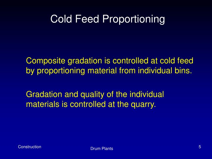 Cold Feed Proportioning