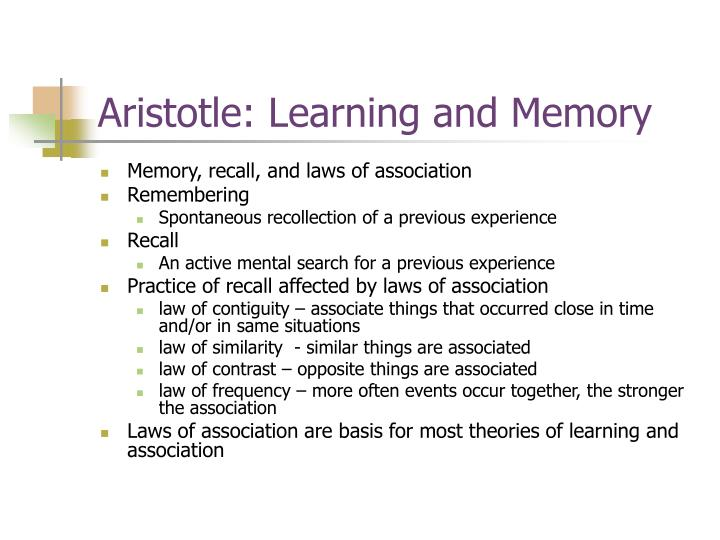 Aristotle: Learning and Memory