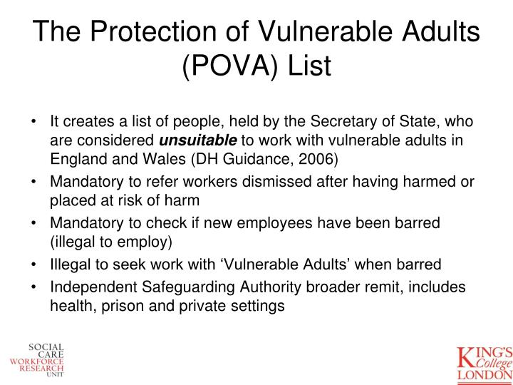 protection of vulnerable adults pova policy