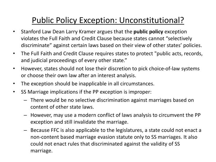 Public Policy Exception: Unconstitutional?